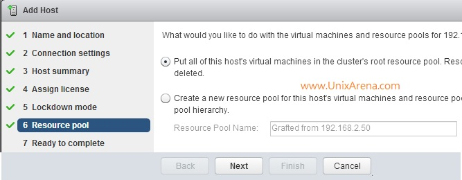 Selecting the Resource pool