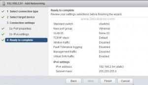 Summary of VMkernel Adapter Addtion
