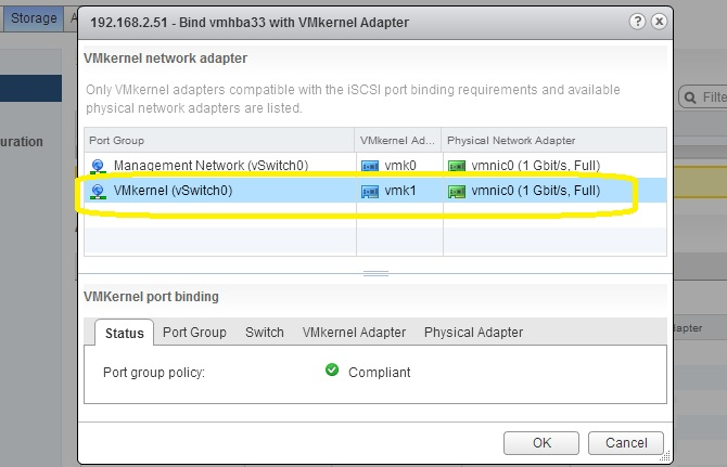 VMkernel port Binding for ISCSI