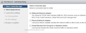 Selecting the VMkernel  adapter
