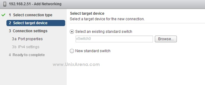 select the vswitch for vmkernel adapter