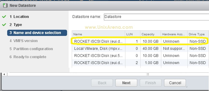 Selecting the ISCSI disks on ESXi