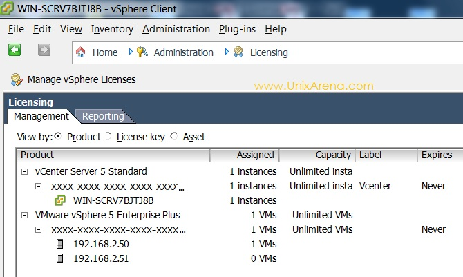 License Keys of VMware Esxi and Vcenter Server