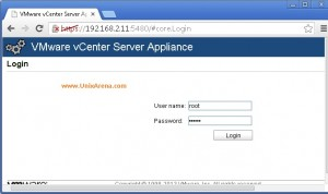 Login to Web interface of Vcenter server 1