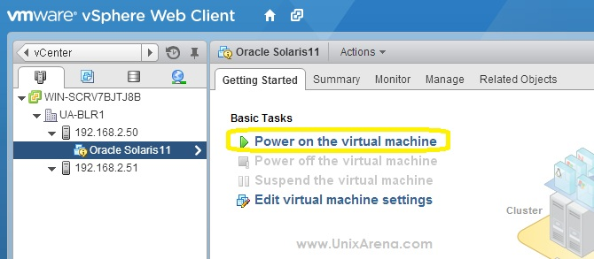 power on virtual machine -VMware