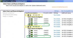 Select ESXi host network links