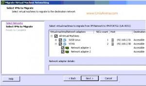 Select the VM for VSS to VDS migration