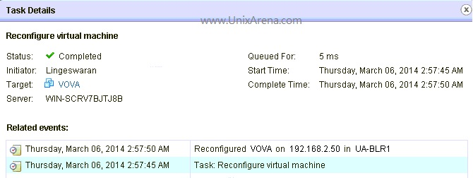 Task details of Live VSS to VDS migration