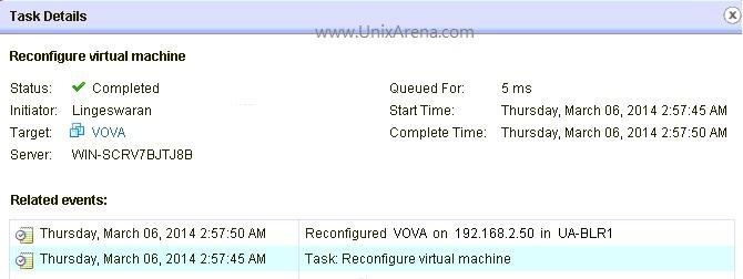 Task details of Live VSS to VDS migration