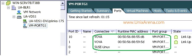 Port group link status for VM's