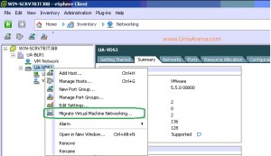 Migrating virtual machine  from VSS to VDS