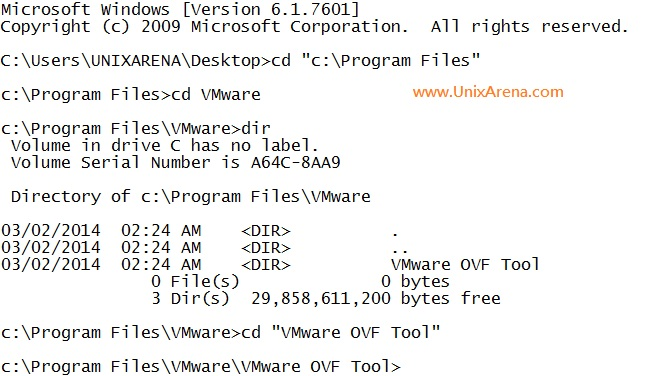 Navigate to VMware OVF tool Location