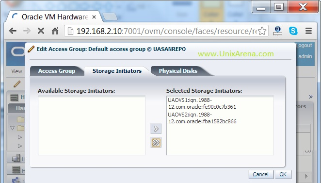 Add the servers  storage initiators for storage access