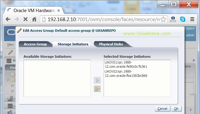 Add the servers  storage initiators for storage access