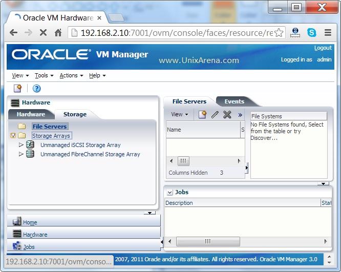 OVM Storage tab
