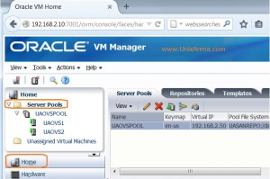 OVM console - Home Page