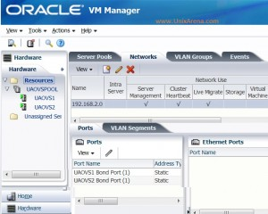 Oracle VM Networking Tab