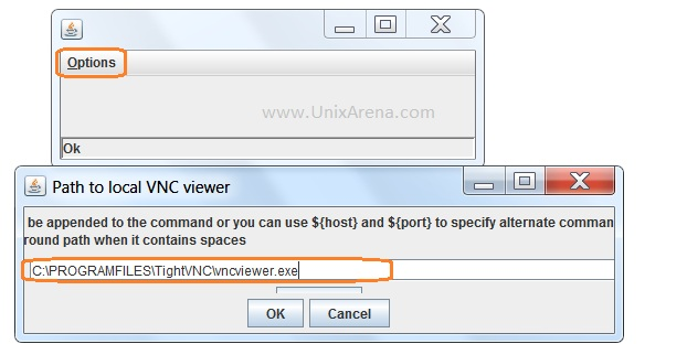 Provide the VNCviewer path to Java