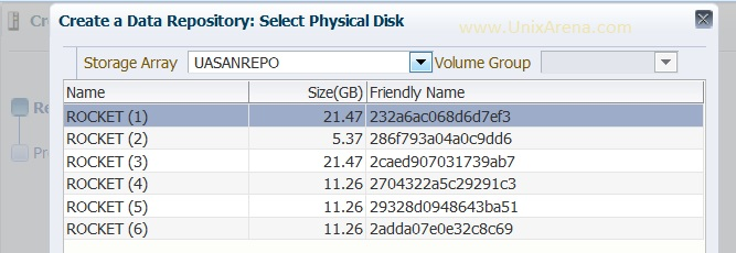 Select the physical Disk for repo