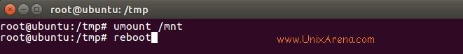 umount & reboot the ubuntu