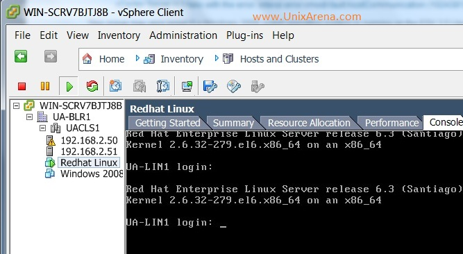 VMware ESXi Redhat Linux console