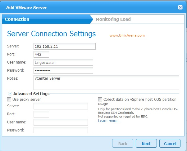 Adding vCenter server in Veeam MP