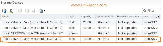 Available Disks in ESXi host