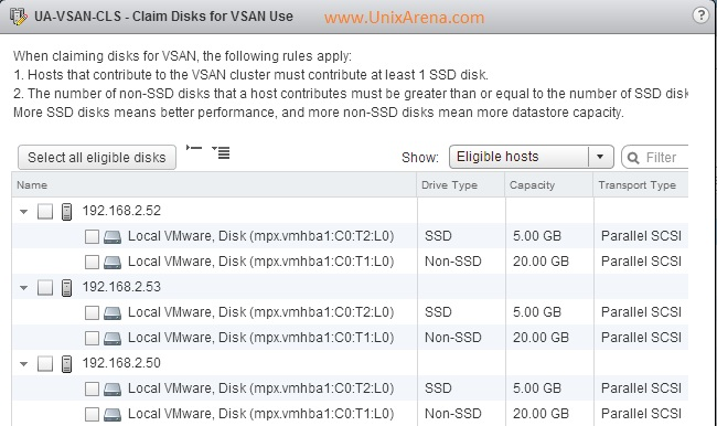 Eligible Hosts and Disks for VSAn