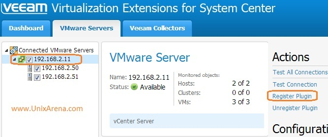Register plugin in VMware vCenter - veeam MP