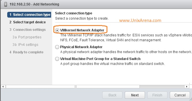 VMkernel adapter for VSAN network