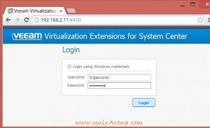 Login page of Veeam Virtualization Extensions for System Center