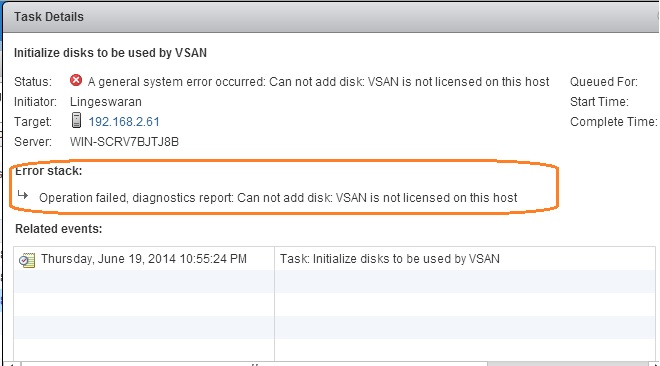 VSAN diskgroup creation error Error