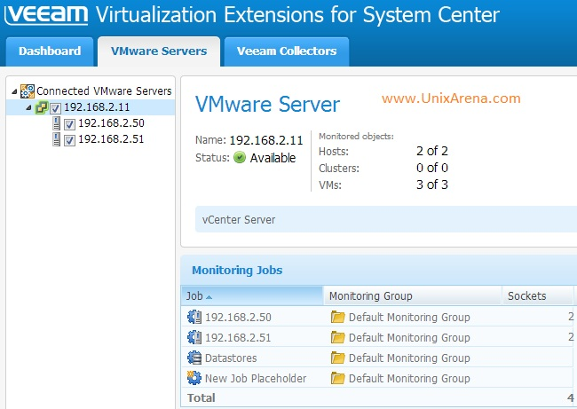 vCenter server on Veeam MP