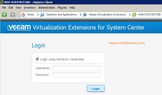 Accessing Veeam MP within vSphere client