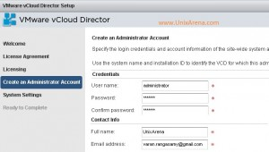 Enter the user name & password for vCloud director