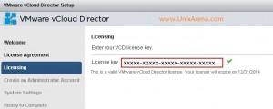 Enter the vCloud director license keys