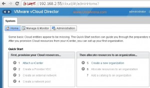 Home page of vCloud director