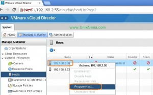 Try to prepare the host from vcloud director