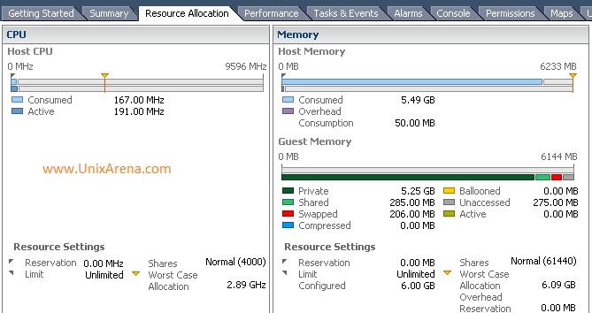 VMware vSphere Client - VM Memory usage