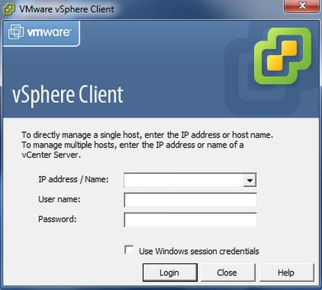 vSphere Client - Login