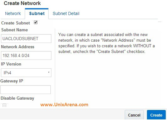 Enter subnet and network details