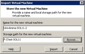 Import the virtual machine
