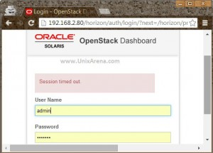 Openstack login page