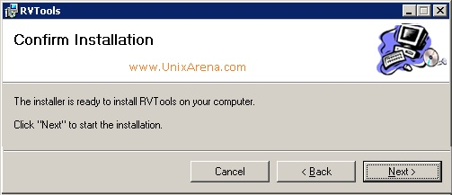 RVtools Begins the installation