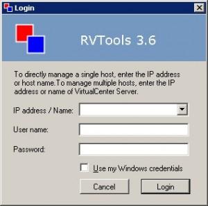 RVtools login screen