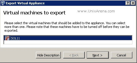 Select the VM to export