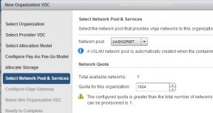 Select the network pool for the organization