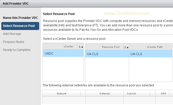 Select the vCenter DC & RP