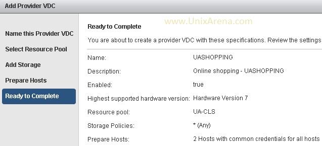 Click finish to create provider vDC