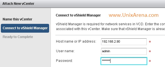 Enter the vShield Manager IP/Credntials